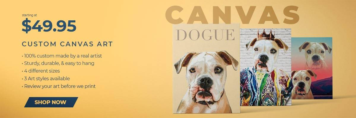 Pop Your Pup canvas banner