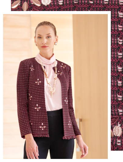 Embroidered Stone Detail Tweed Jacket with Charmeuse Blouse and Straight Leg Knit Pant in Black