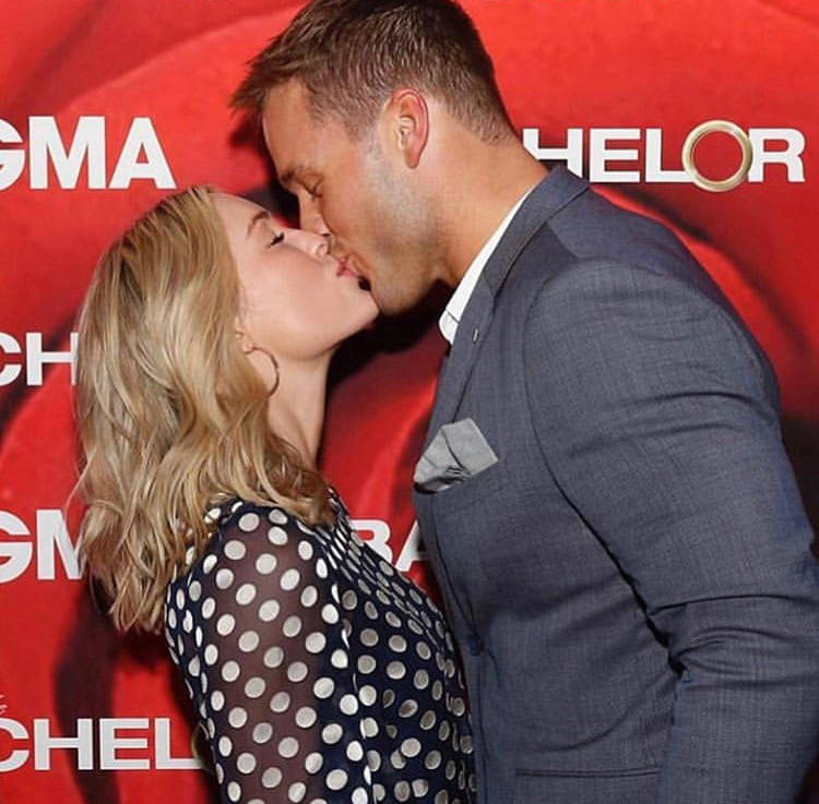 The Bachelor: Cassie Randolph in polka dot queenie dress and Colton Underwood share a kiss