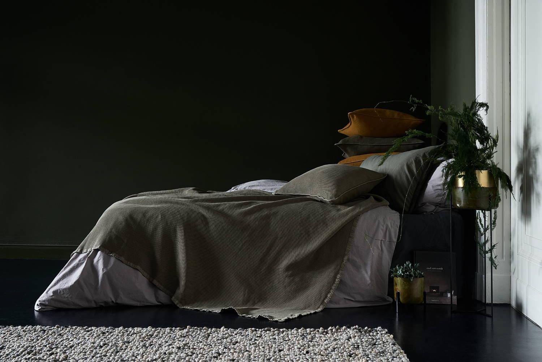 Interior Trend Mustard yellow green bed linen bedspreads cushions