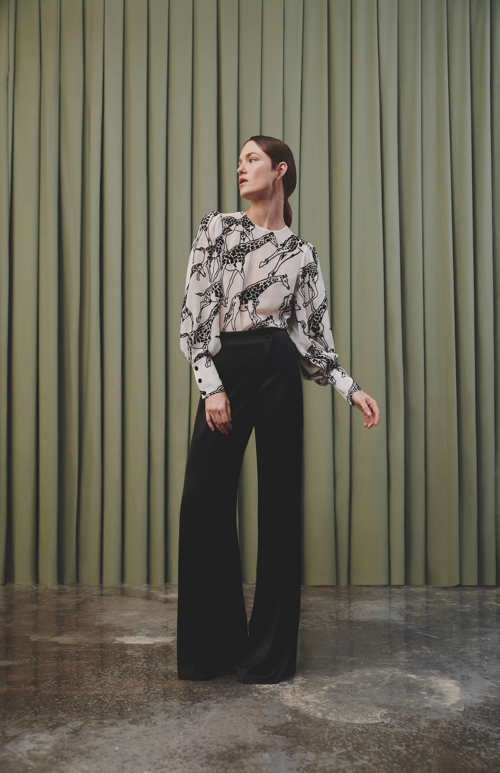 Galvan London Velvet Devoré Long Sleeves Black and White Blouse
