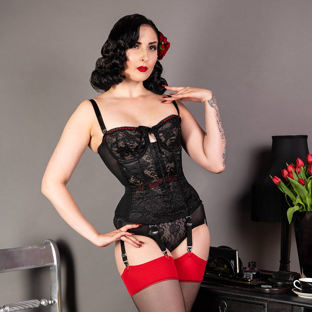 Lulu Noir black satin and lace vintage lingerie with girdle