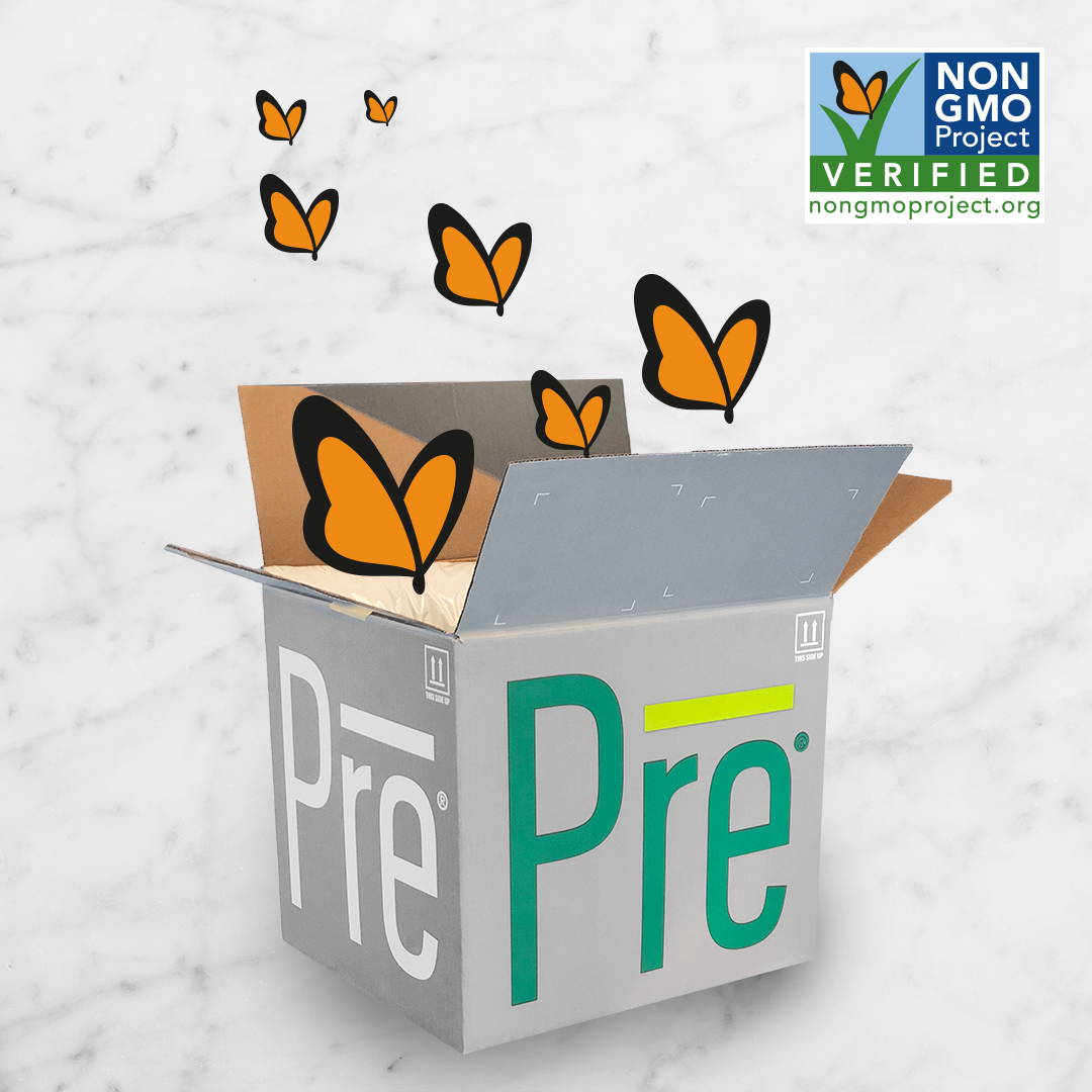 Pre Beef box with Non-GMO butterflies flying out of it