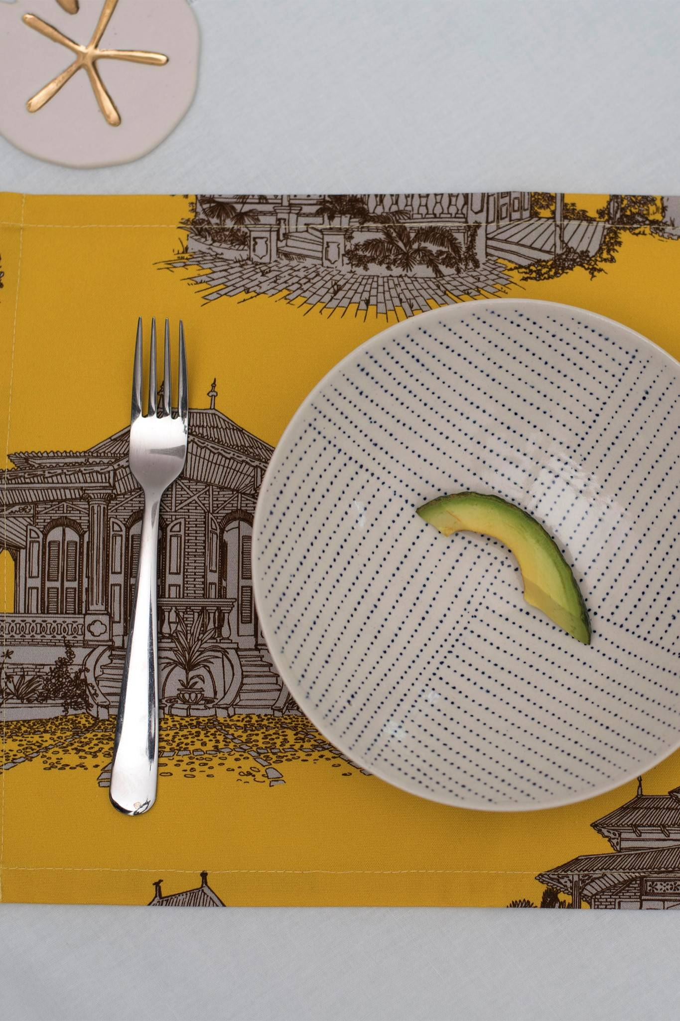 GINGERBREAD HOUSE TABLE PLACE MAT 2 SET- YELLOW $ 55