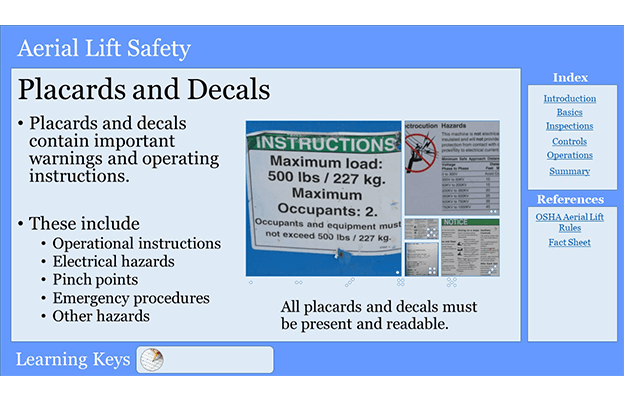 Aerial Lift PowerPoint Training Placards and Decals