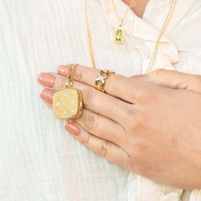 Peridot Necklace and Yellow Gold Locket