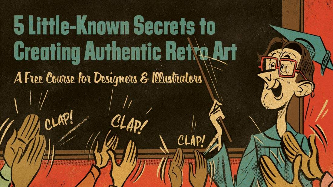 """Professor at chalkboard with text """"5 Little-Known Secrets to Creating Authentic Retro Art"""""""