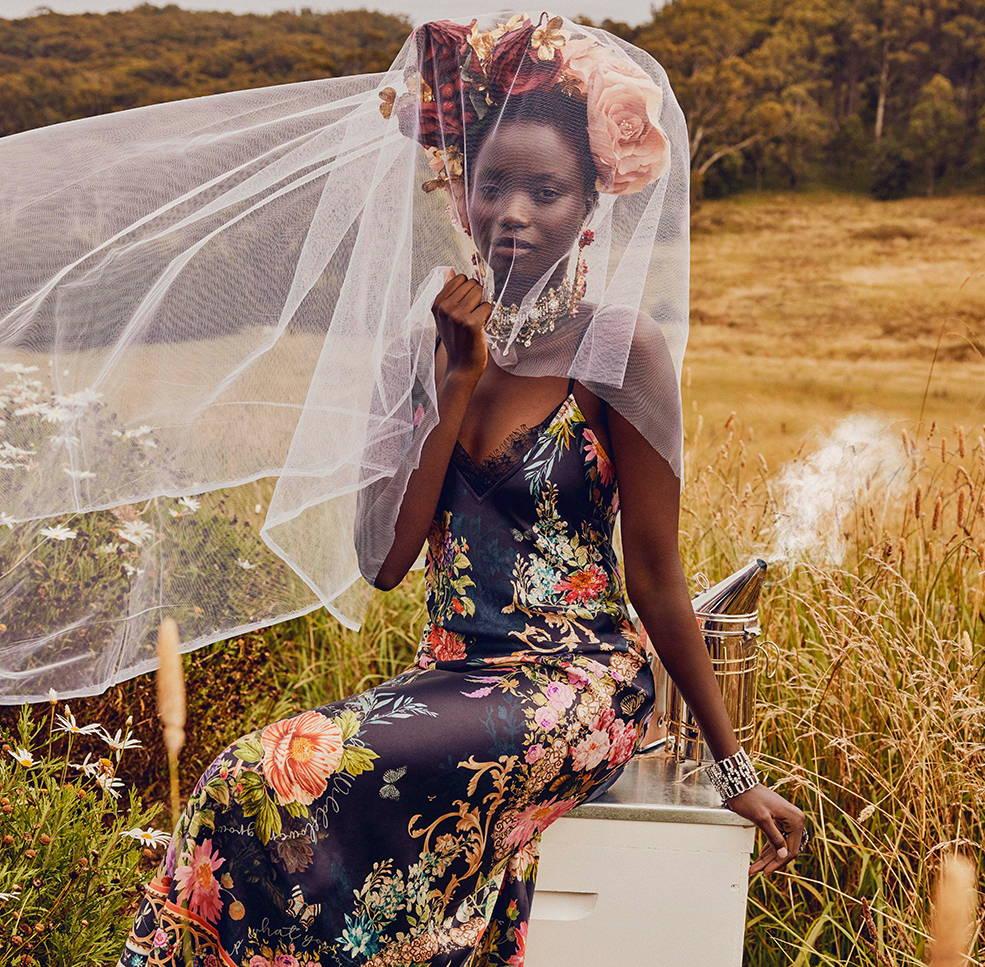CAMILLA hampton hive slip dress, camilla black floral dress