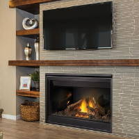 Napoleon B46 gas fireplace with mantel and tv above