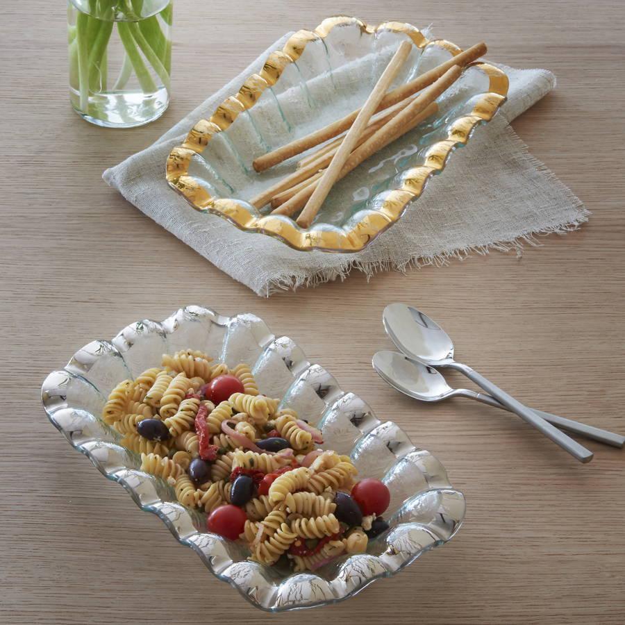 Ruffle - Gold Ruffled Band Glass Dinnerware