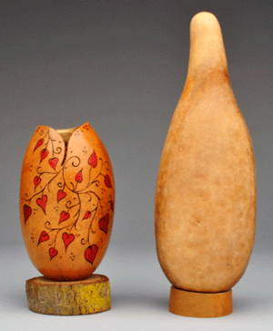 (Note: This is an example of what can be done with small People Gourds. Gourds are sold uncut).