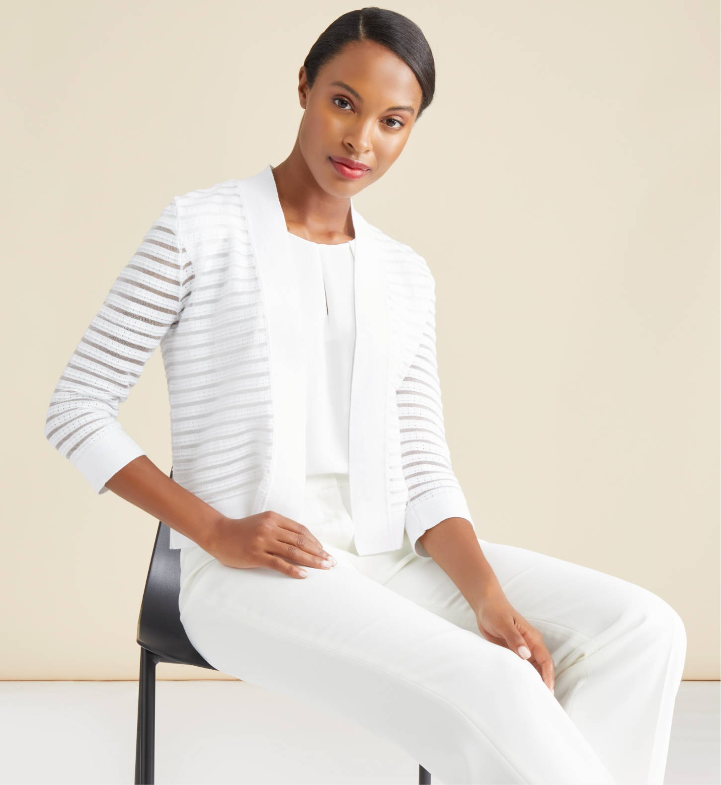 Sheer Knit Open-Front Cardigan and Linen Elastic Back Pant in White