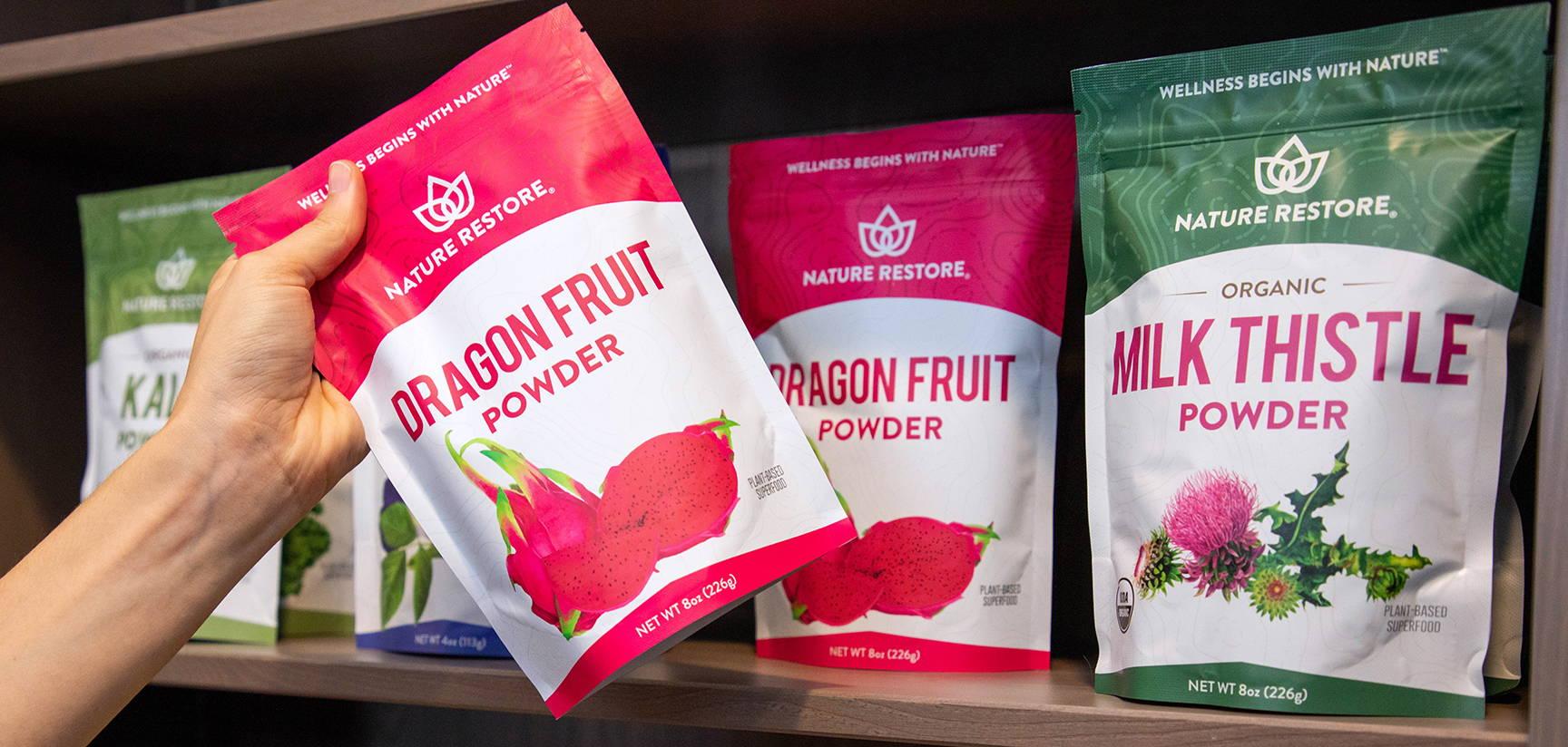 Retail shelf of Nature Restore powders