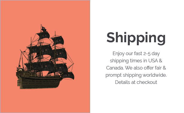 eded shack shipping policy banner with red block and black ship