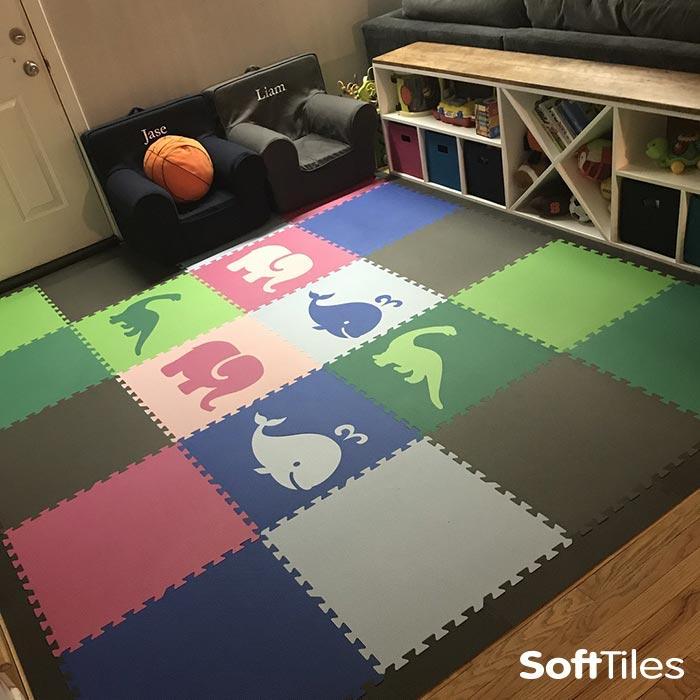 SoftTiles Designer EVA Foam Play Mats- Create Custom Playroom Floors