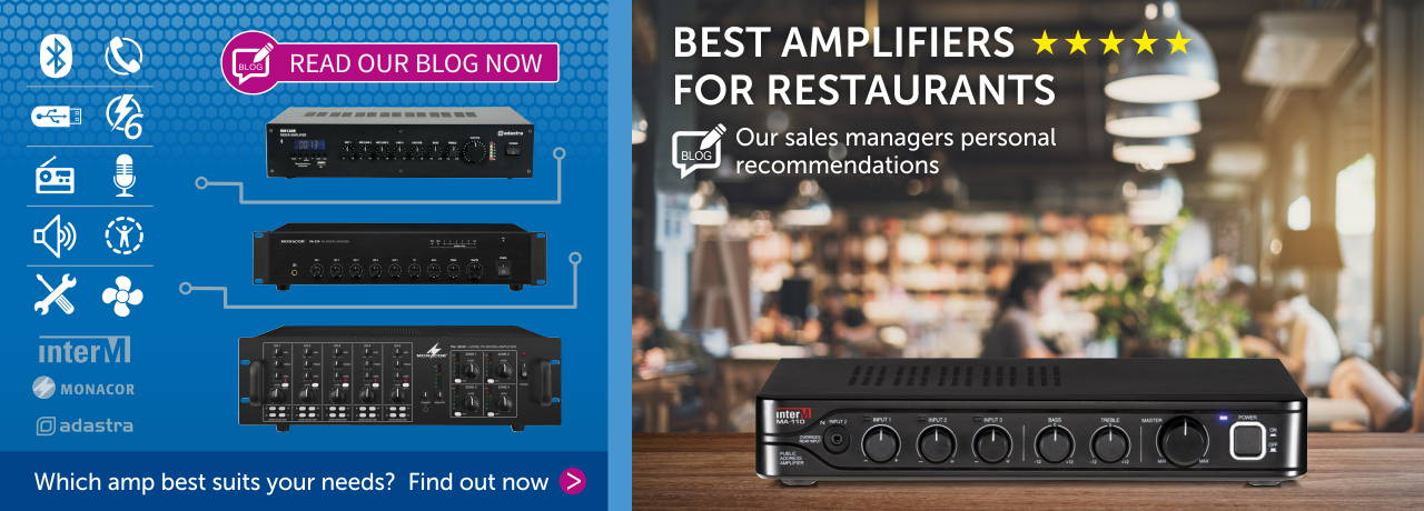 Read our blog about the best amplifiers for restaurants HERE