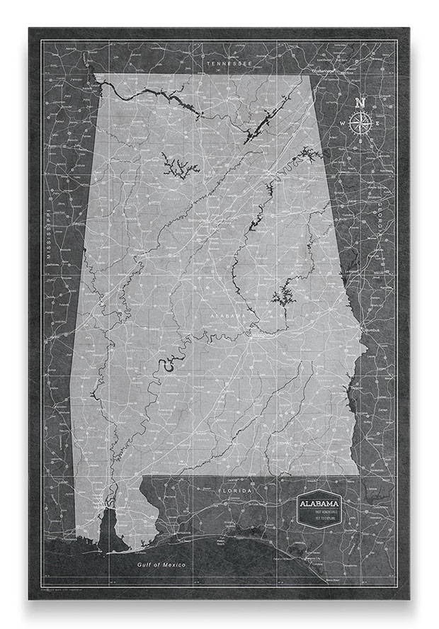 Alabama Push pin travel map modern slate
