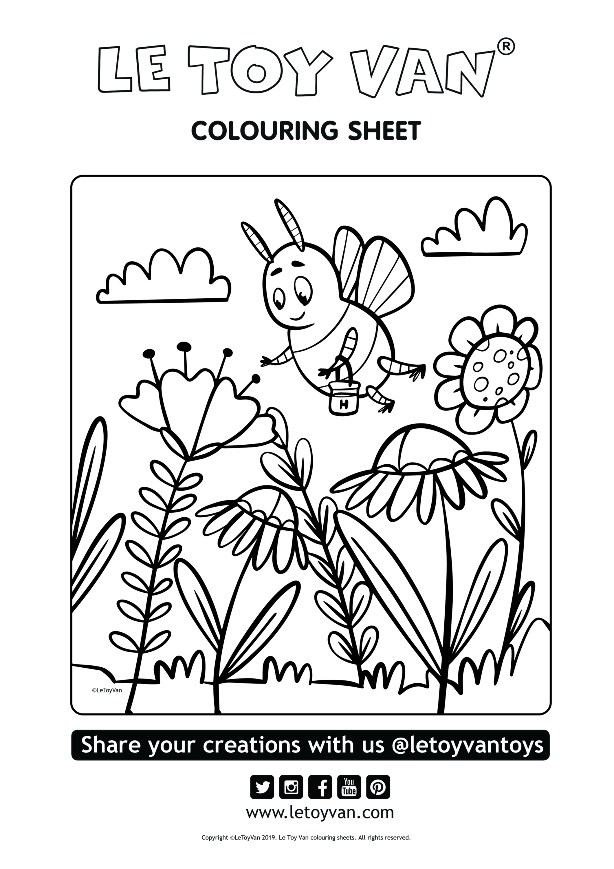 free colouring sheet bee