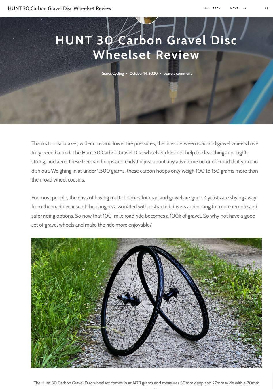 Hunt 30 Carbon Gravel Disc Wheelset Carbon and Grit review