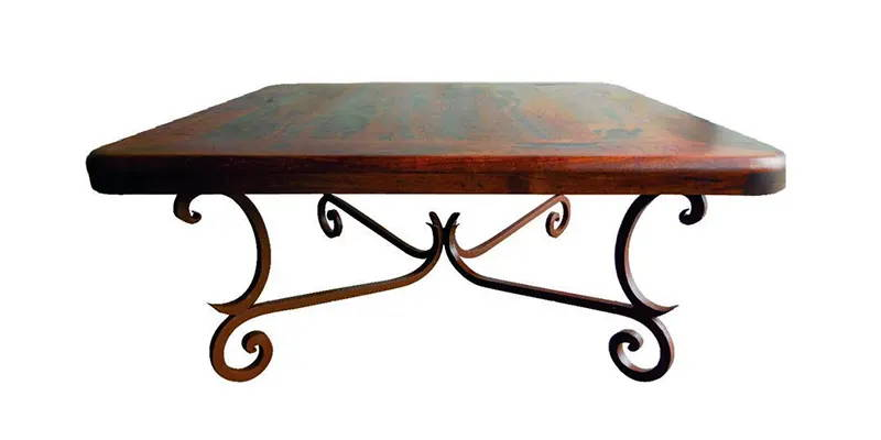 Mesquite wood square coffee table with rounded corners and a dark rust brown iron base model number 1215 A