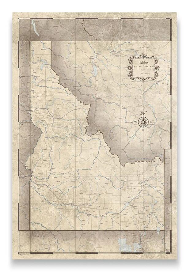 Idaho Push pin travel map rustic vintage