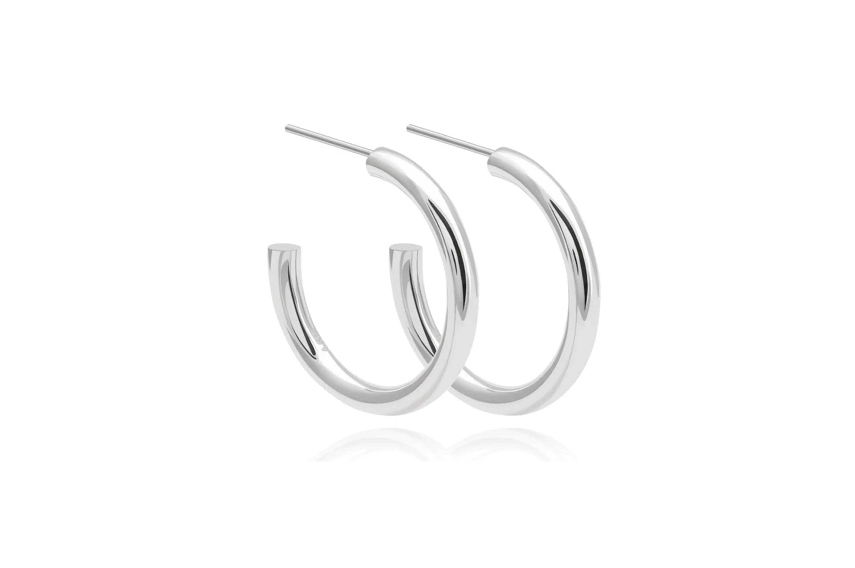 Basic large silver hoops