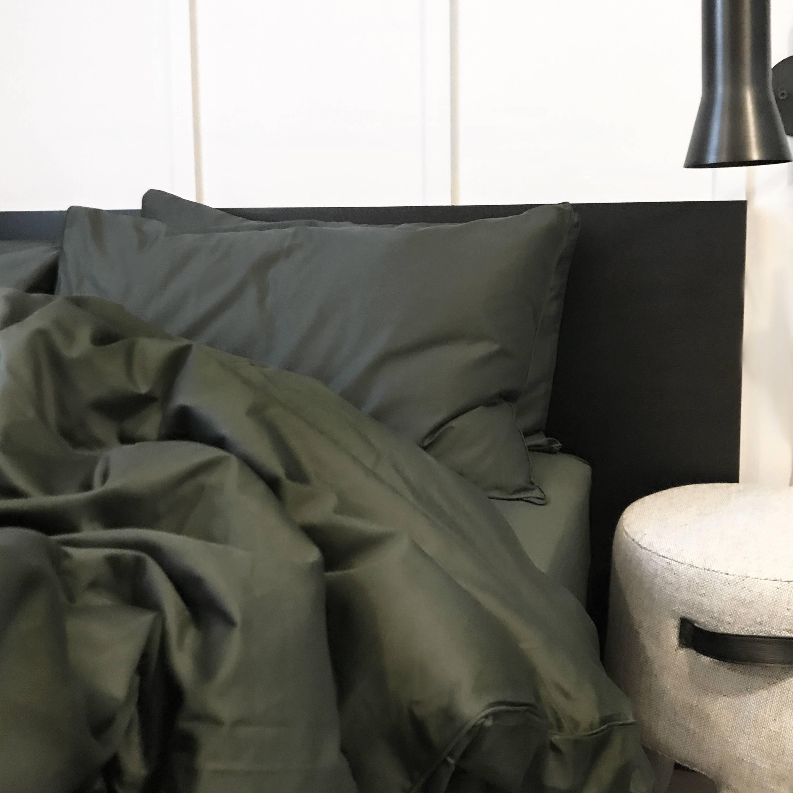 Hunter Dark Olive Khaki Green Long-Staple 100% Cotton Sheets | The Sheet Society