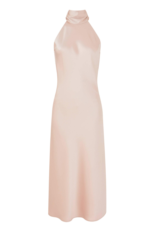 Galvan London High Neck Pink Midi Dress