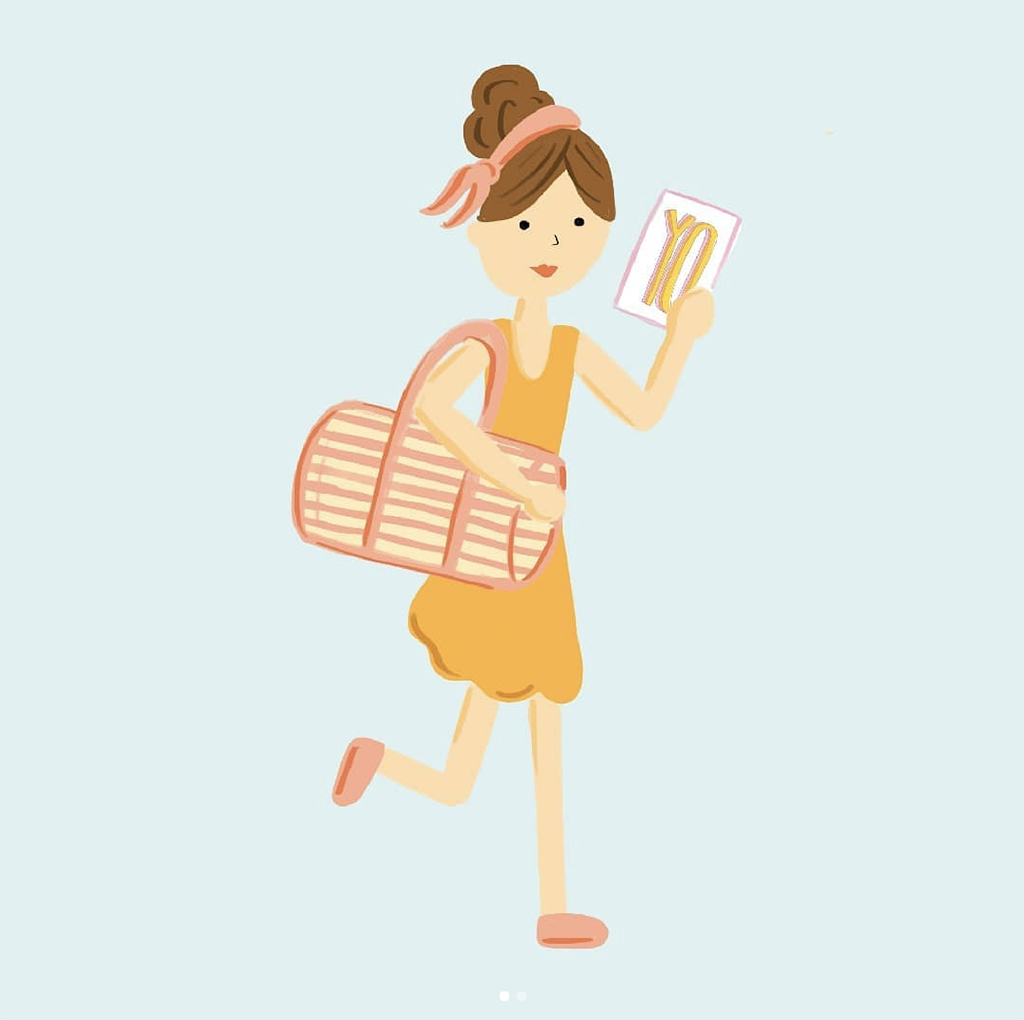 Illustration of a running girl carrying a YO card and cute duffel bag.