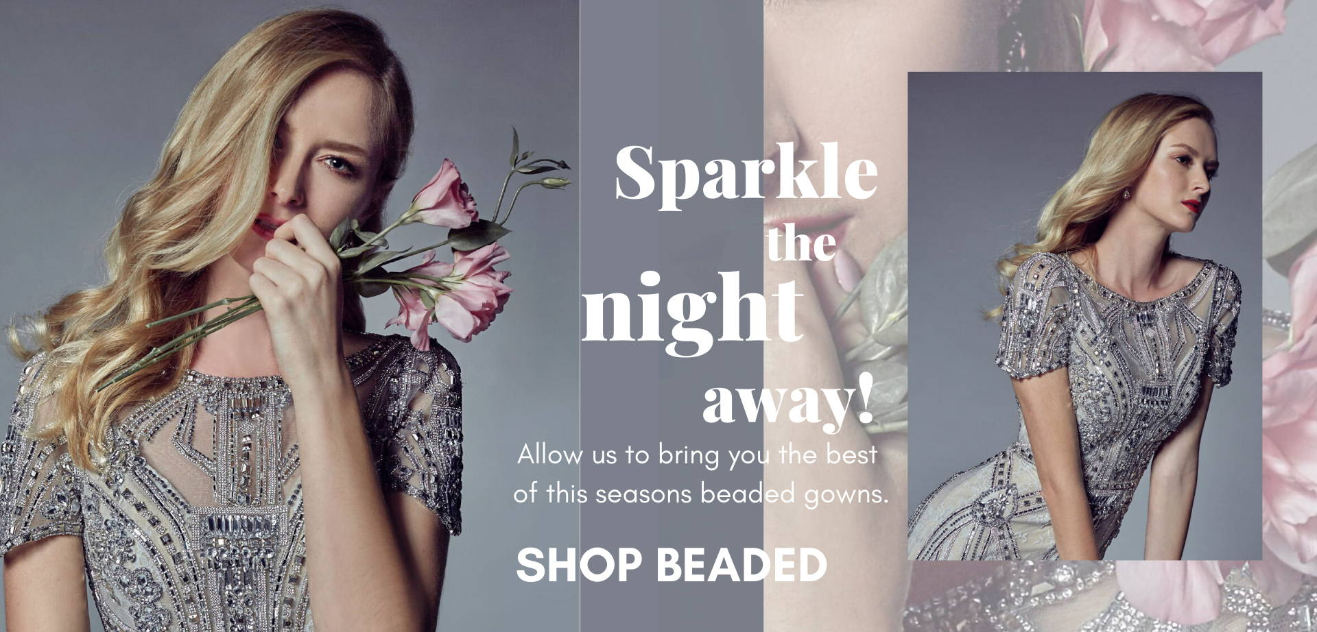 Glam it up in a long formal beaded party dress.