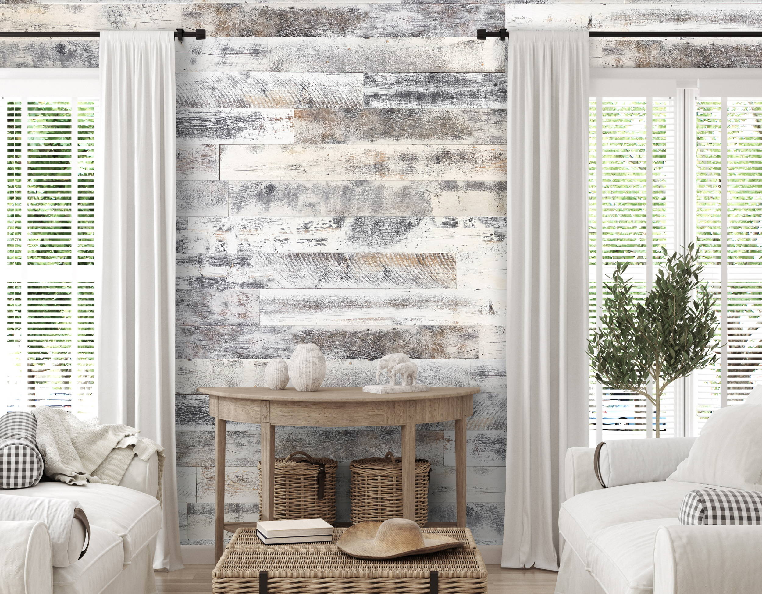 Farmhouse White Originals Rustic Wood Paneling