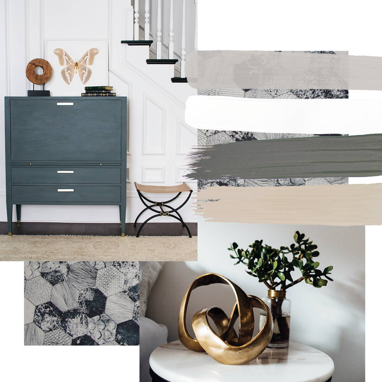 Transitional interior design style moodboard