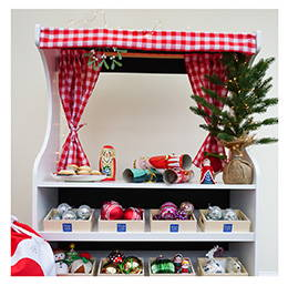 wooden play shop & theatre set up for Christmas