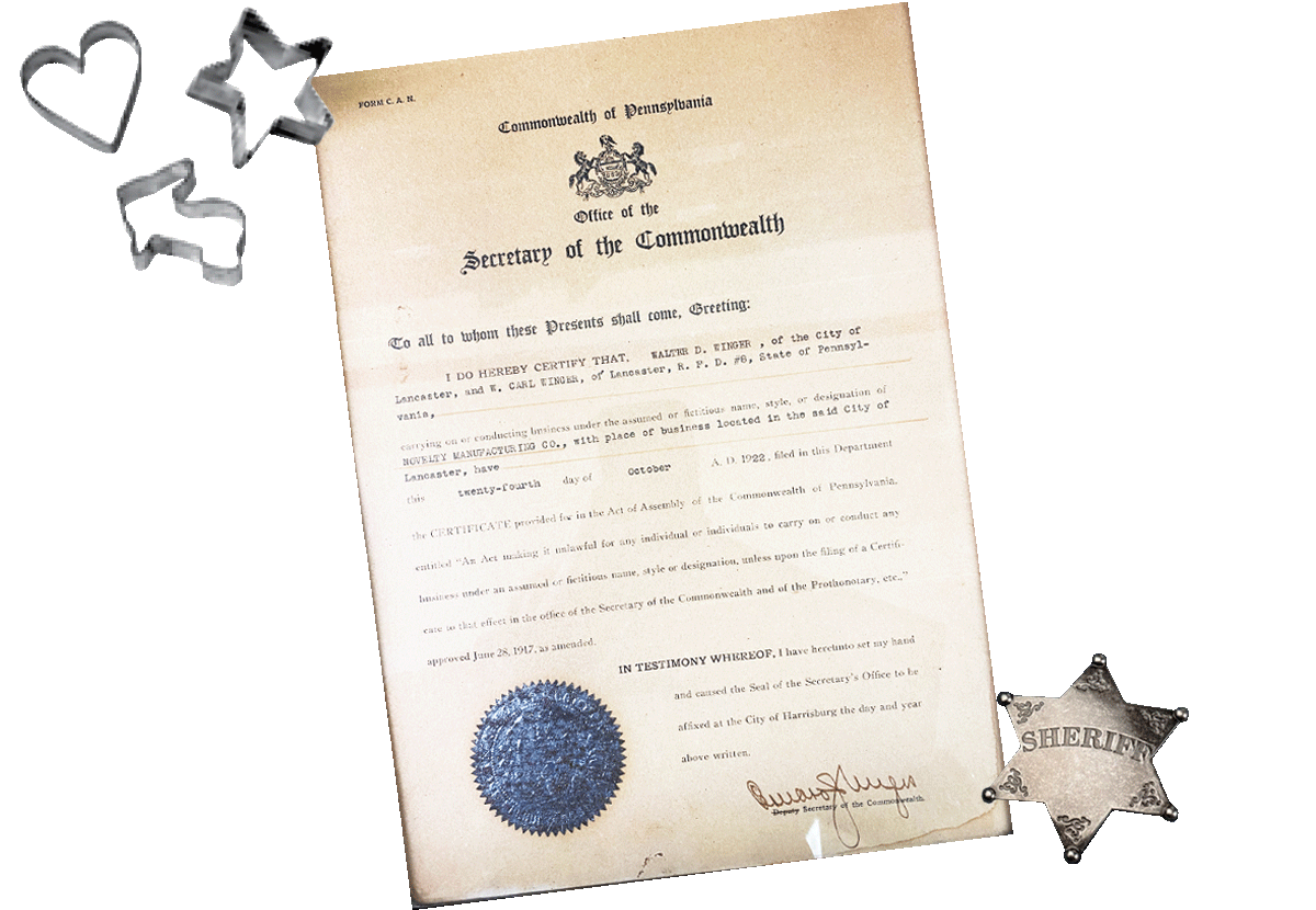 Official Pennsylvania document recognizing the Novelty Manufacturing Co. name