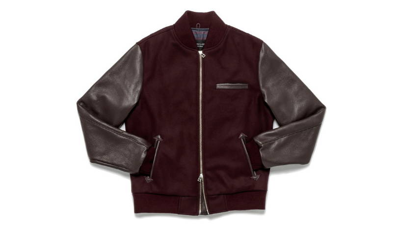 2836d5acc77 Bundle up in style with the Maroon Bomber Jacket by Outclass. The perfect  combination of the wool body and leather sleeves provide all warmth you  need this ...