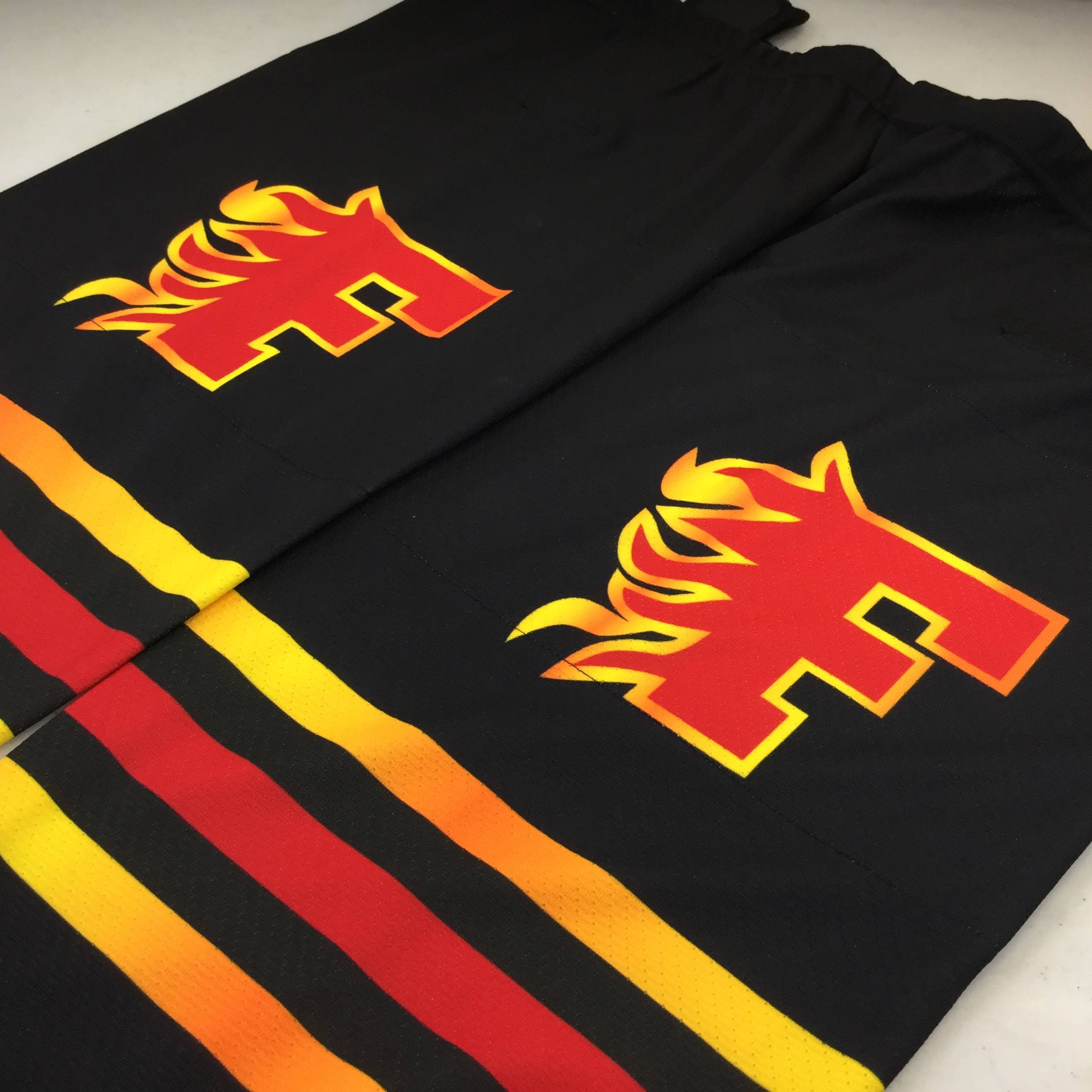 Custom Sublimated Hockey Socks: Flames