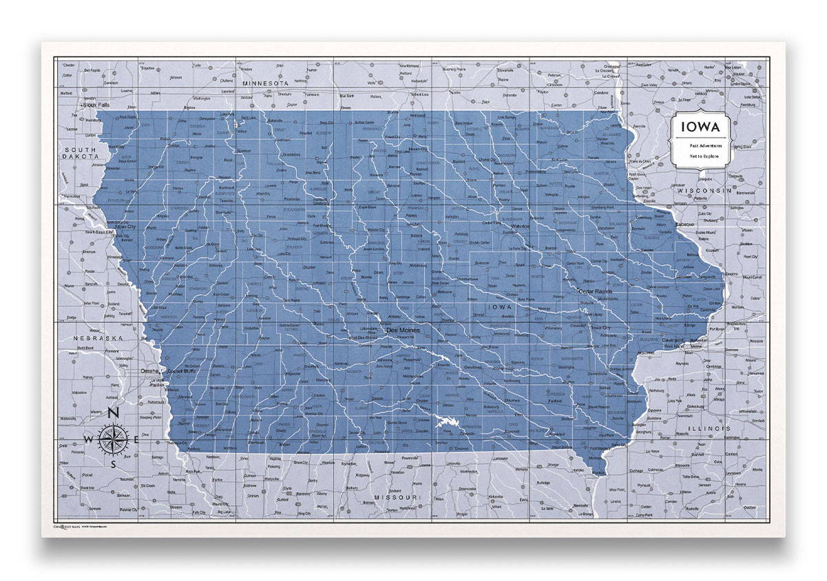 Iowa Push pin travel map color splash
