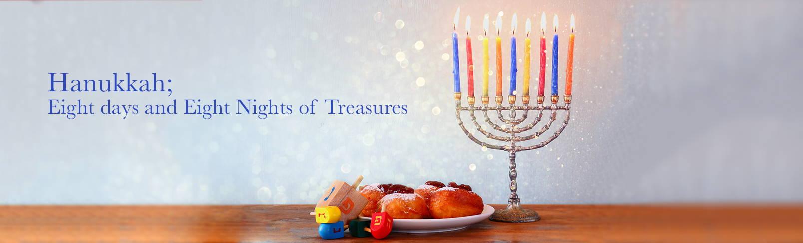 High Quality Organics Express Hanukkah menorah with donuts and dreidel
