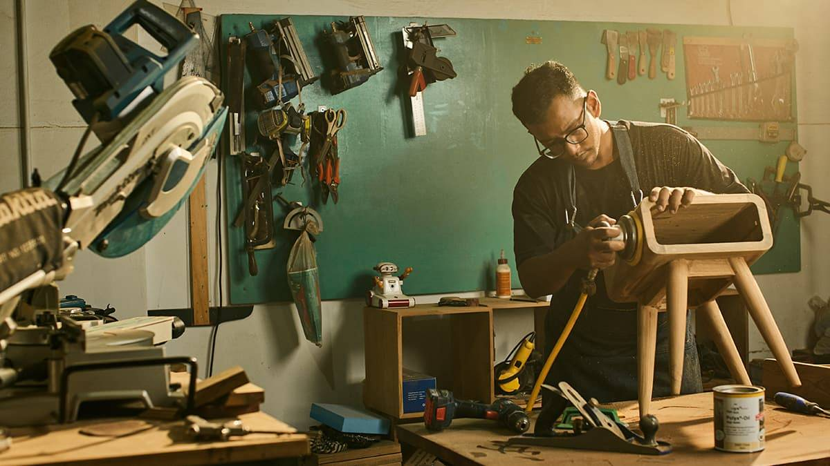 A woodworker working in the shop