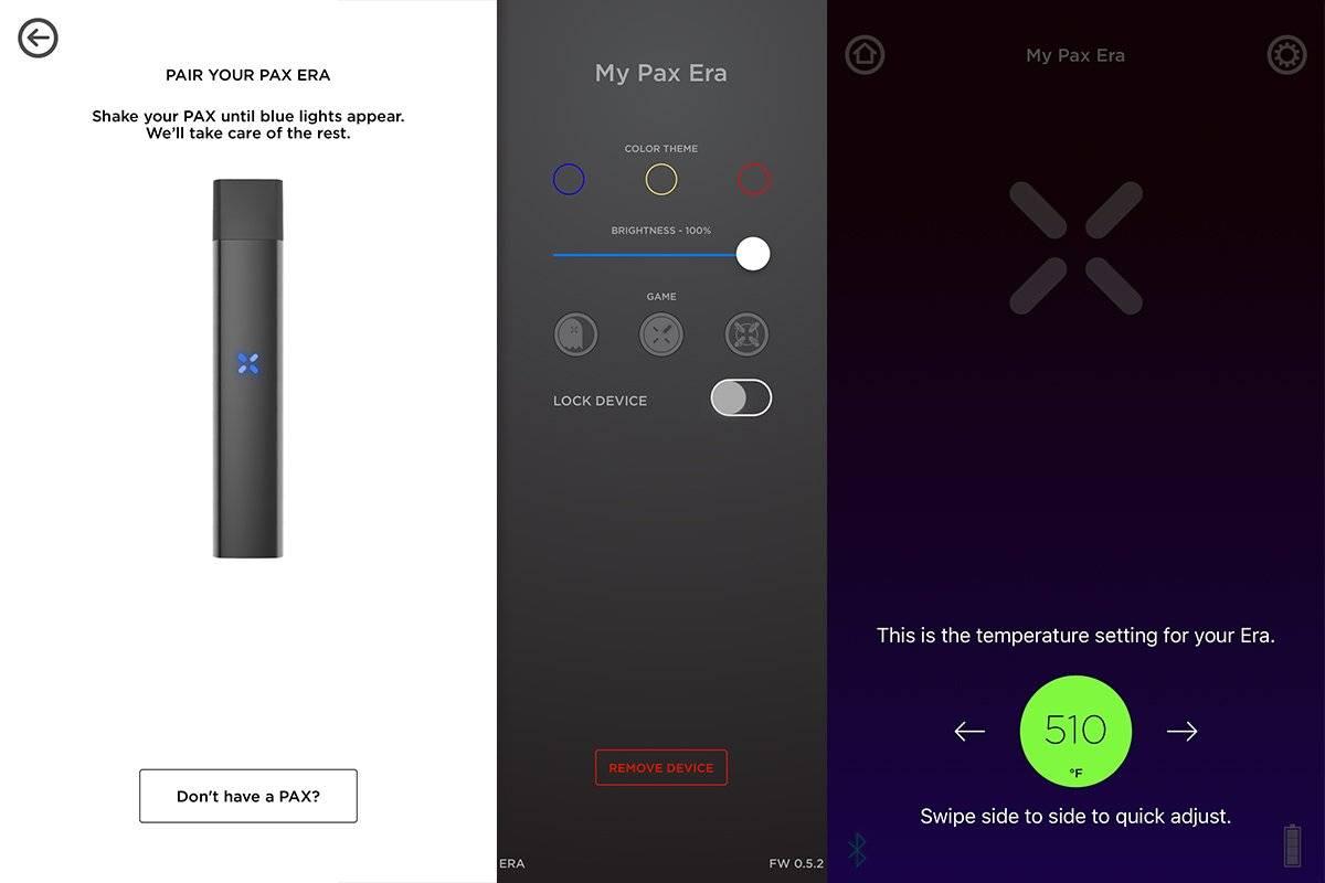 PAX 3 smartphone app