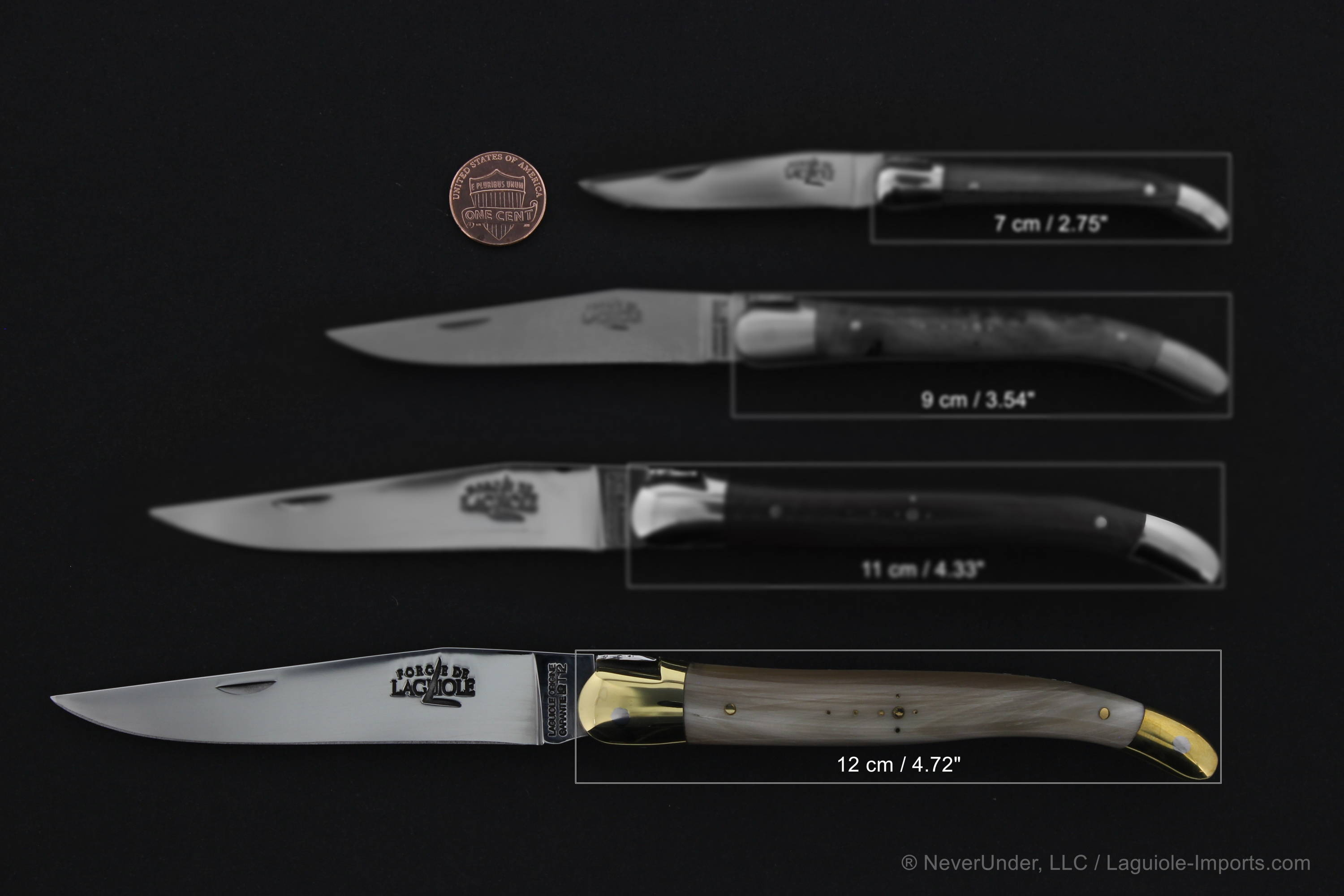 Laguiole 12 cm knife size comparison