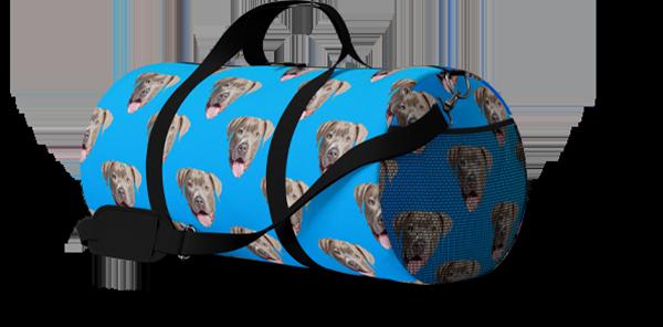 blue custom duffle bag with pitbull