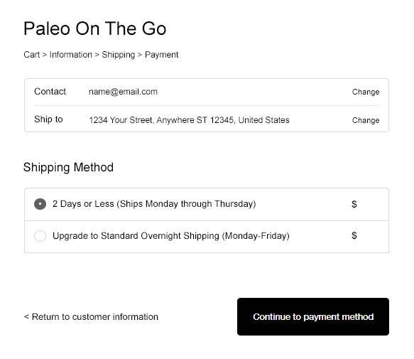 shipping page sample visual