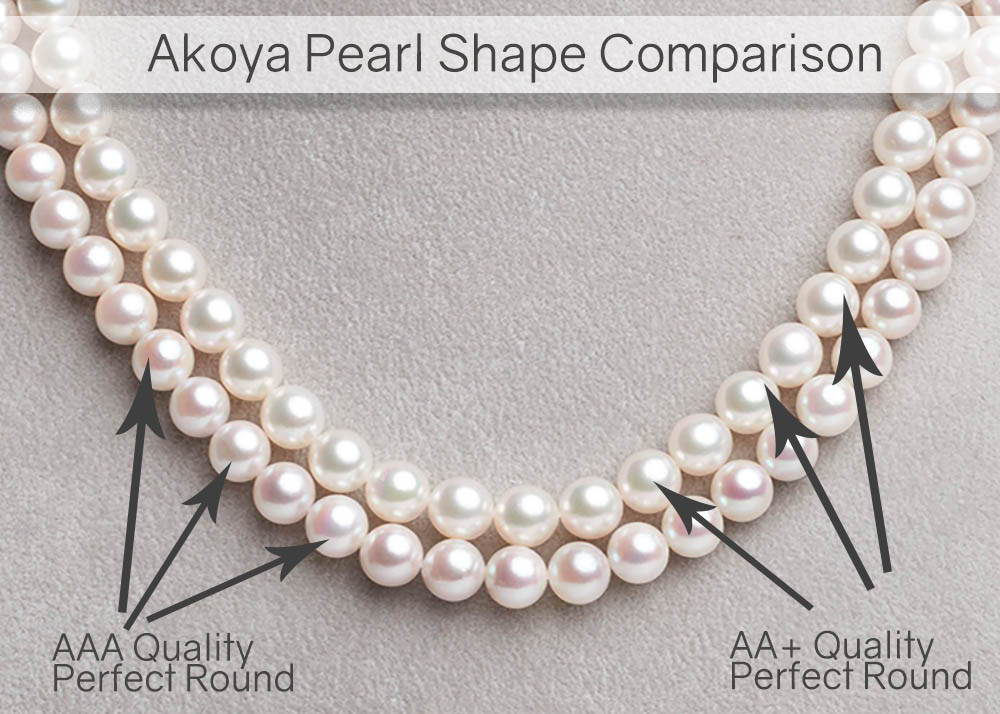 AA+ vs AAA Quality Akoya Pearl Shapes are Both Perfect Rounds