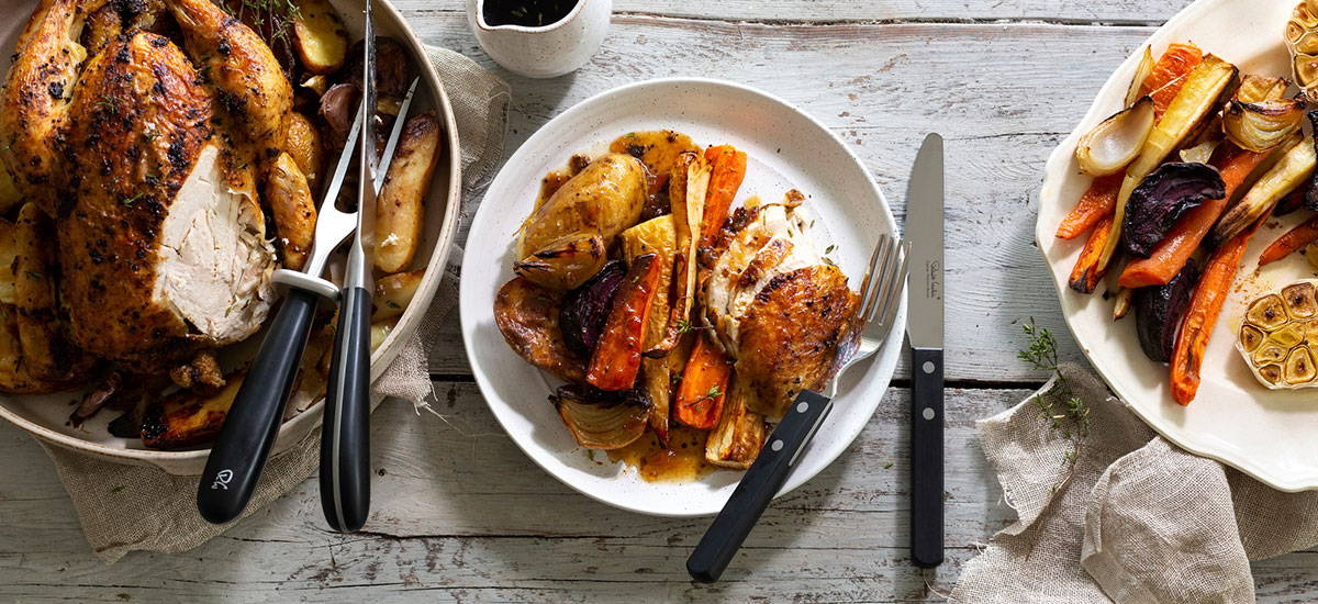Lemon and Thyme Roast Chicken with Root Vegetables