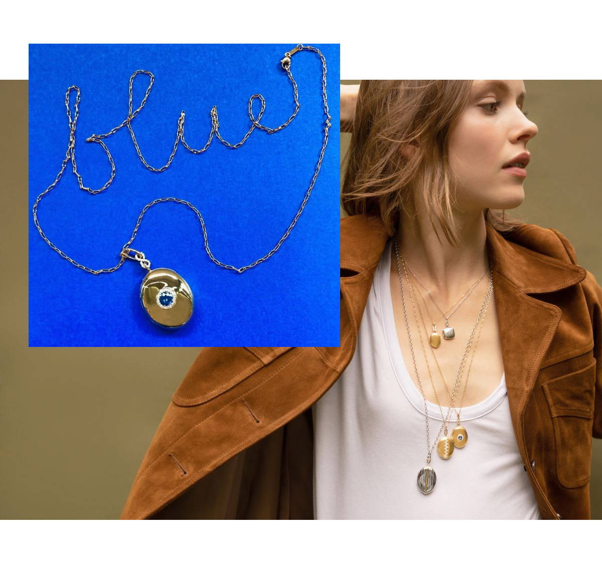 Blue sapphire infinity locket