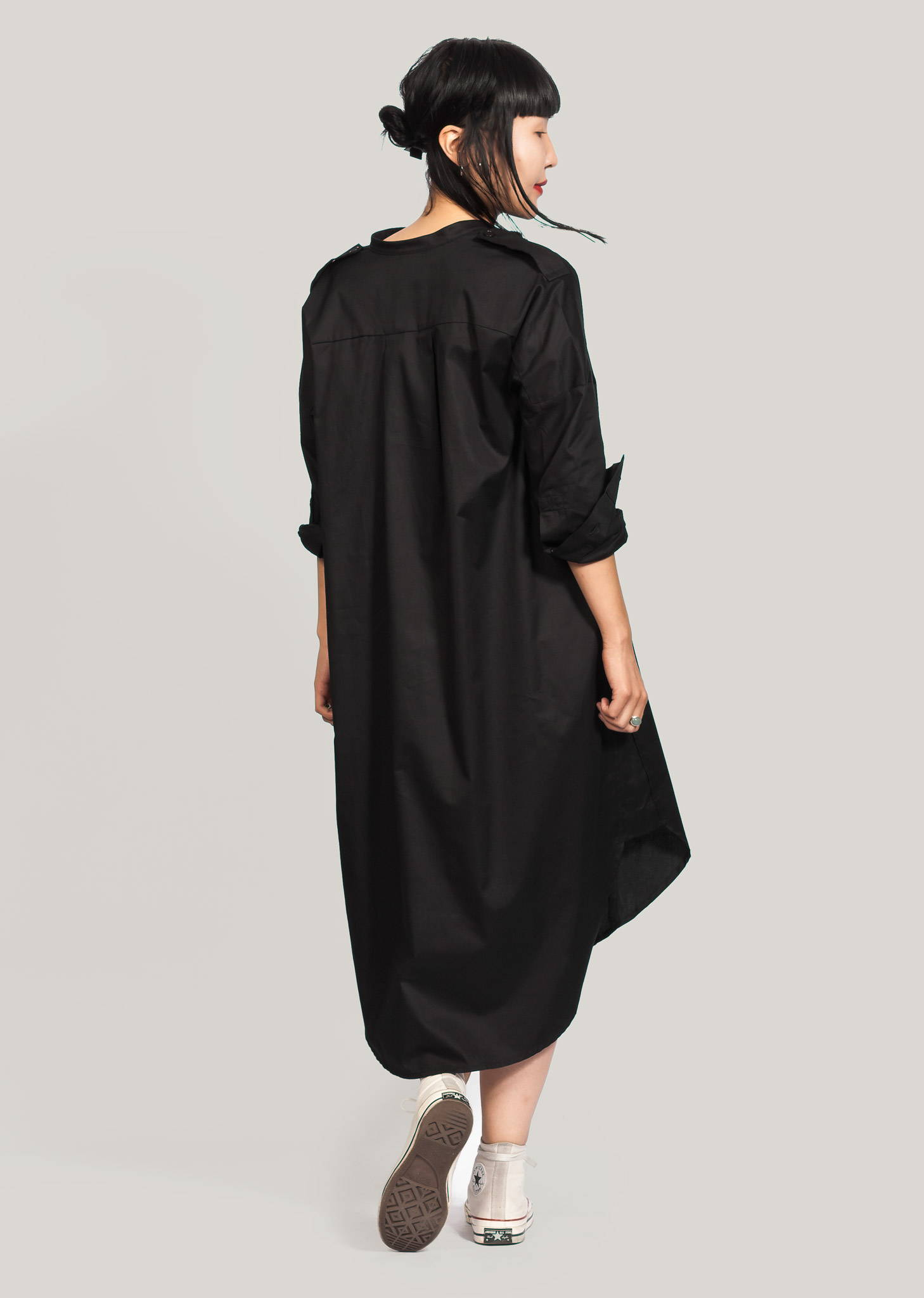 black gots certified organic shirtdress