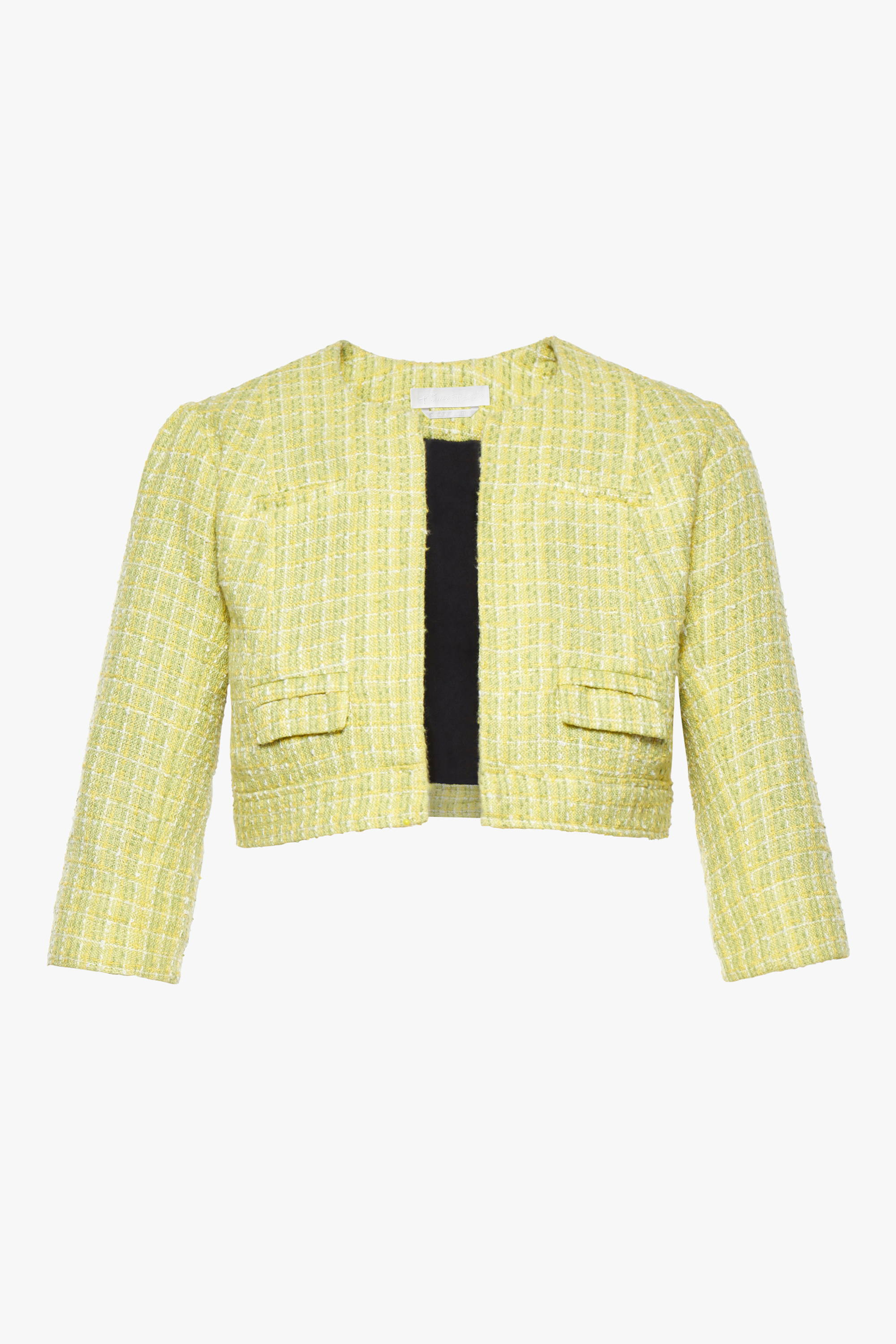 The maternity friendly Beverly jacket in lime boucle