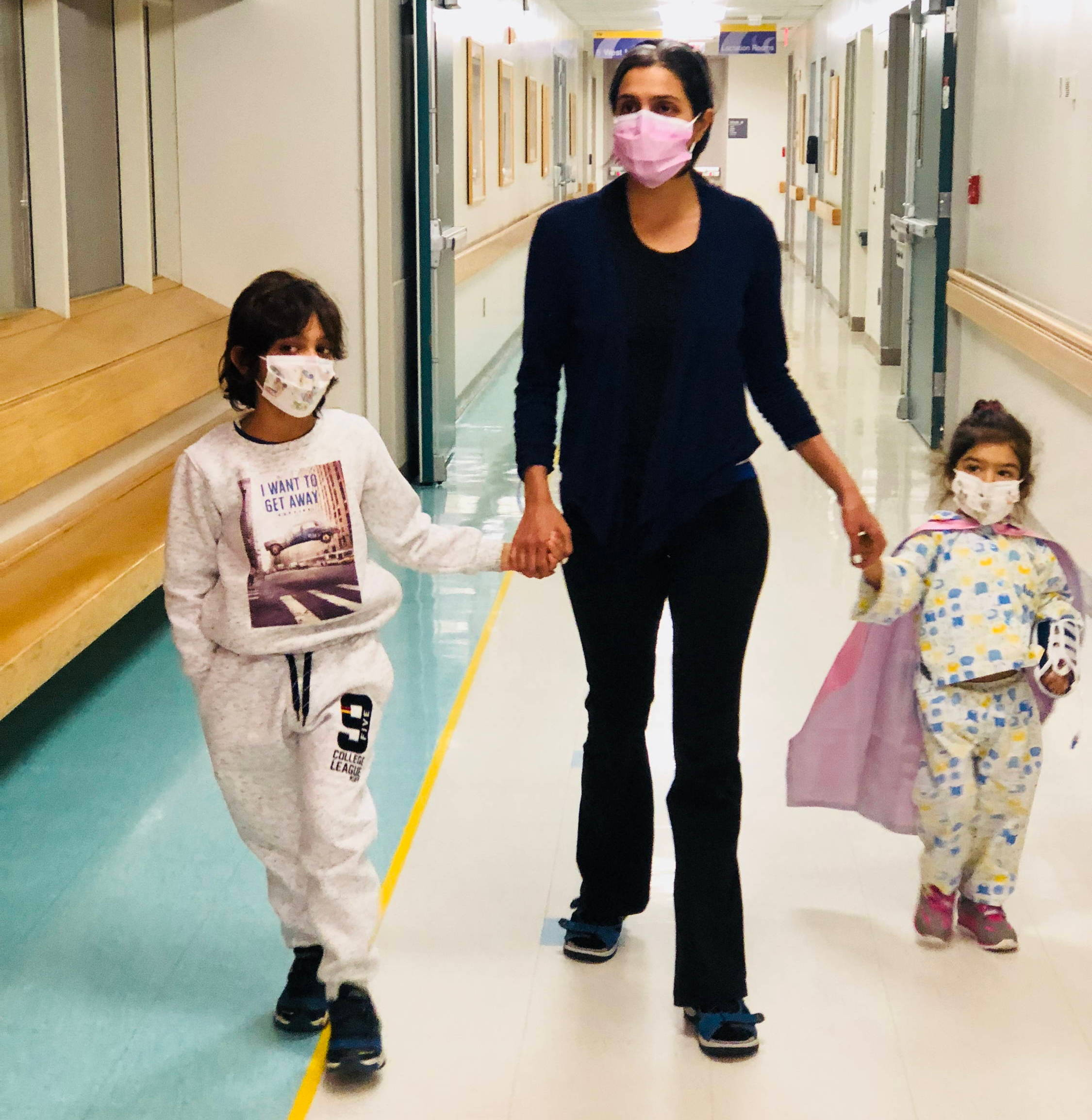 Shalini, the eco, and her children at the hospital