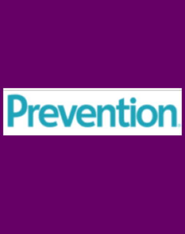 Purple rectangle icon with Prevention logo in center